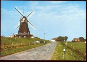 POSTKARTE PELLWORM NORDFRIESLAND MÜHLE WINDMÜHLE MILL WINDMILL MOLEN MOLE MOULIN Muhle Muehle RENAULT 4 cpa postcard AK