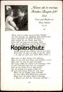 ALTE POSTKARTE WENN ICH IN MEINES KINDES AUGEN SEH Liederkarte Chanson Song Enfant Schamax Musik Dresden Max Schade AK