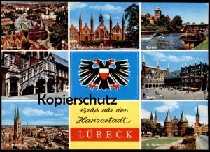 POSTKARTE LÜBECK LEPORELLO Systemkarte Càrte a systéme vues dépliantes cpa postcard AK Ansichtskarte Luebeck Lubeck