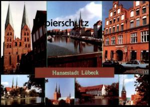 POSTKARTE HANSESTADT LÜBECK MEHRBILD u. a. mit Auto OPEL Car cpa postcard AK Ansichtskarte Luebeck Lubeck