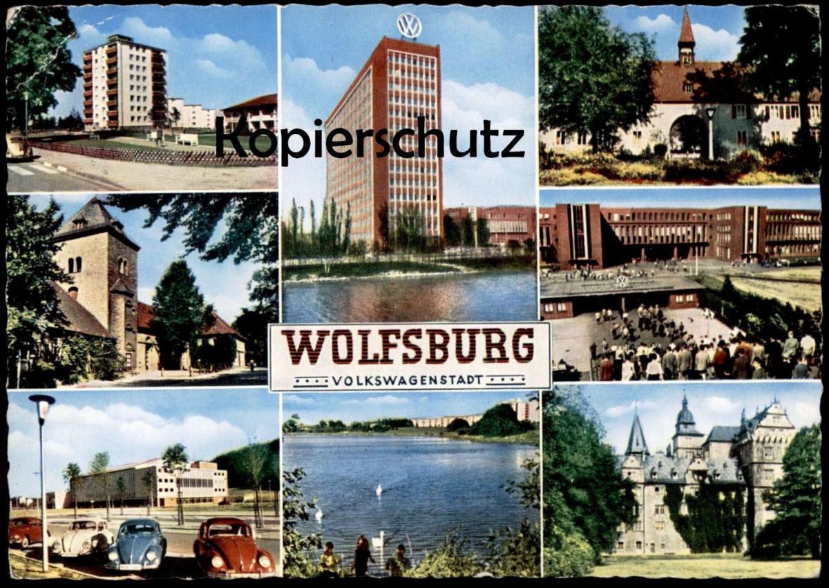 ÄLTERE POSTKARTE WOLFSBURG MIT VOLKSWAGEN FABRIK Factory Fabrique VW Käfer Beetle Coccinelle