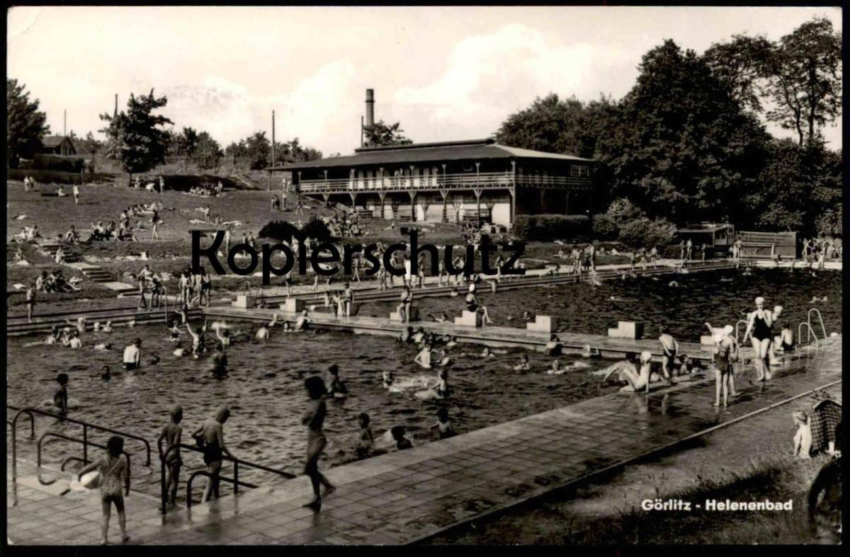 ÄLTERE POSTKARTE GÖRLITZ HELENENBAD SCHWIMMBAD Swimming Pool Piscine Freibad Bad bath bathing suit Mode cpa postcard AK