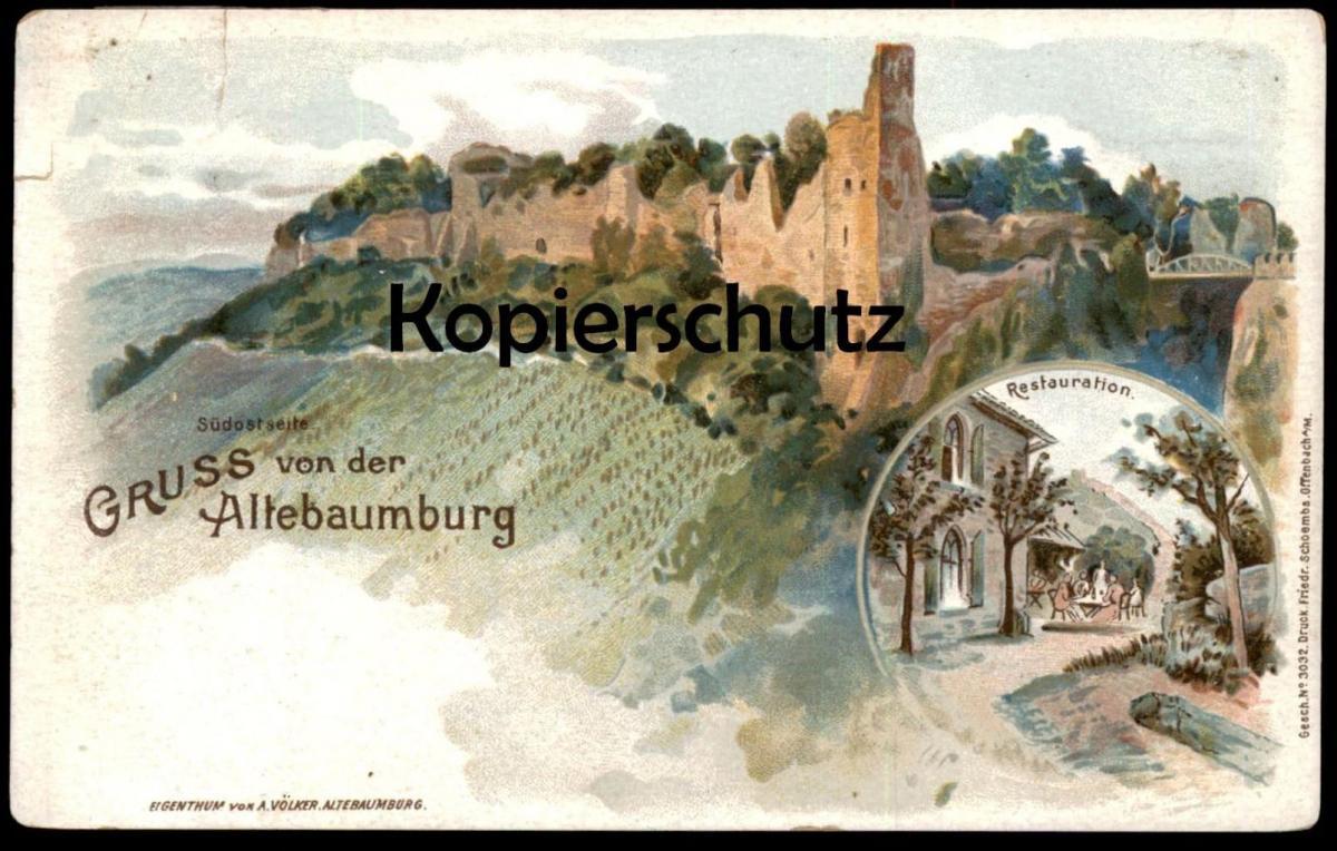 ALTE LITHO POSTKARTE GRUSS VON DER ALTEBAUMBURG ALTENBAMBERG Bad Münster Altenbaumburg Stempel Taxe Posthilfstelle