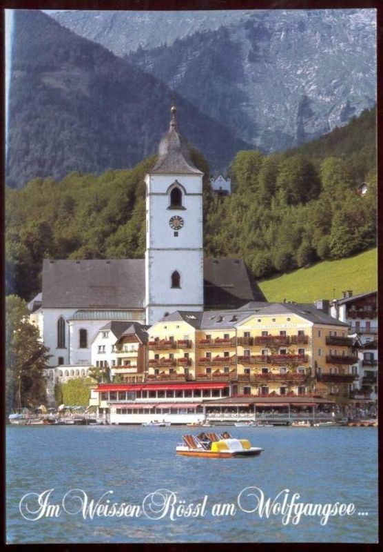 postkarte hotel weisses r ssl wolfgangsee st wolfgang sterreich austria cpa postcard tretboot. Black Bedroom Furniture Sets. Home Design Ideas