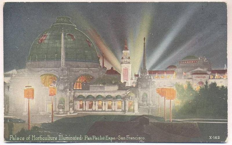ALTE POSTKARTE SAN FRANCISCO ILLUMINATED PALACE OF HORTICULTURE PANAMA PACIFIC EXPO 1915 by night nuit postcard cpa AK