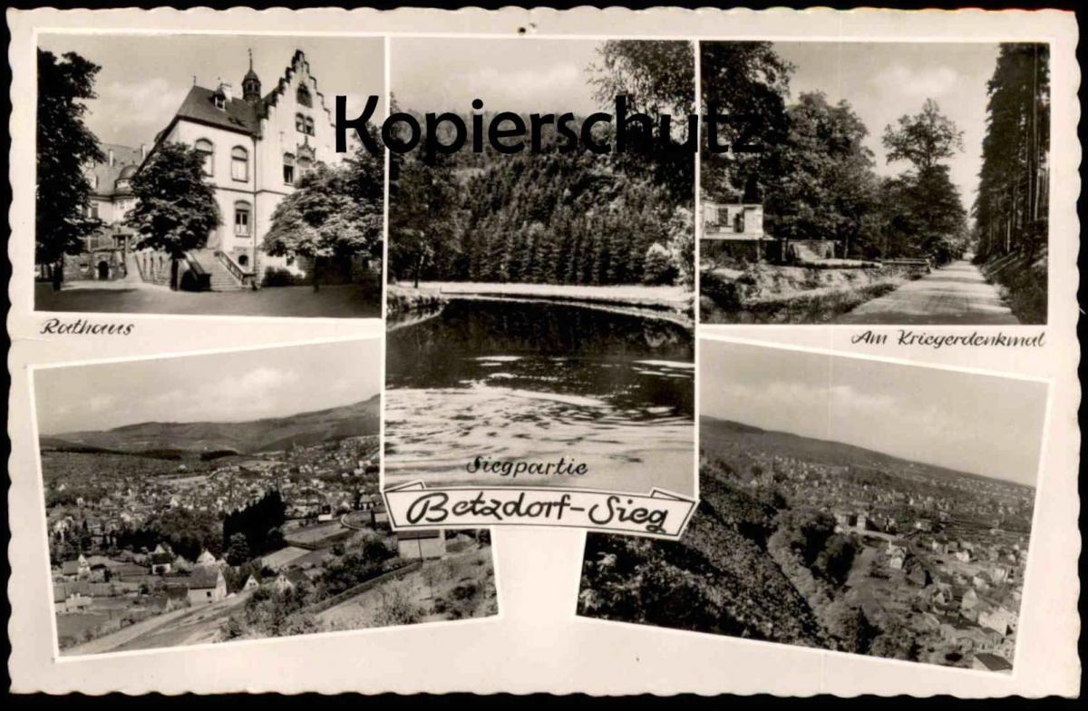 ÄLTERE POSTKARTE BETZDORF SIEG Rathaus Siegpartie Kriegerdenkmal bei Altenkirchen cpa postcard AK Ansichtskarte