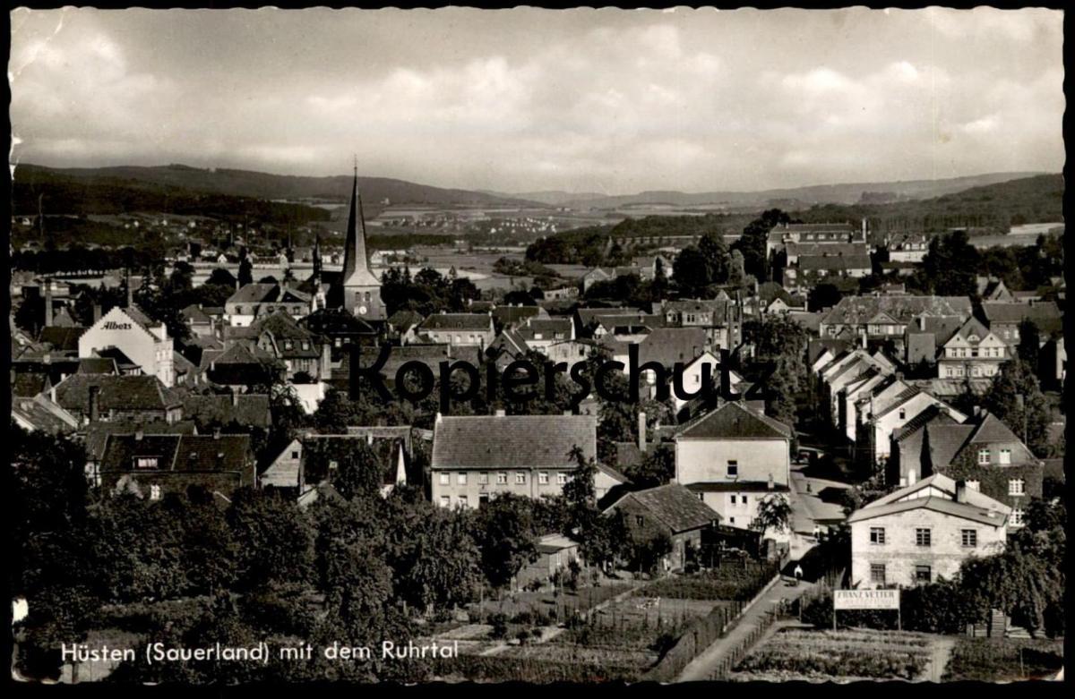 ÄLTERE POSTKARTE HÜSTEN MIT DEM RUHRTAL BEI NEHEIM ARNSBERG Huesten erkennbar Franz Vetter Gartenbau Albers cpa postcard
