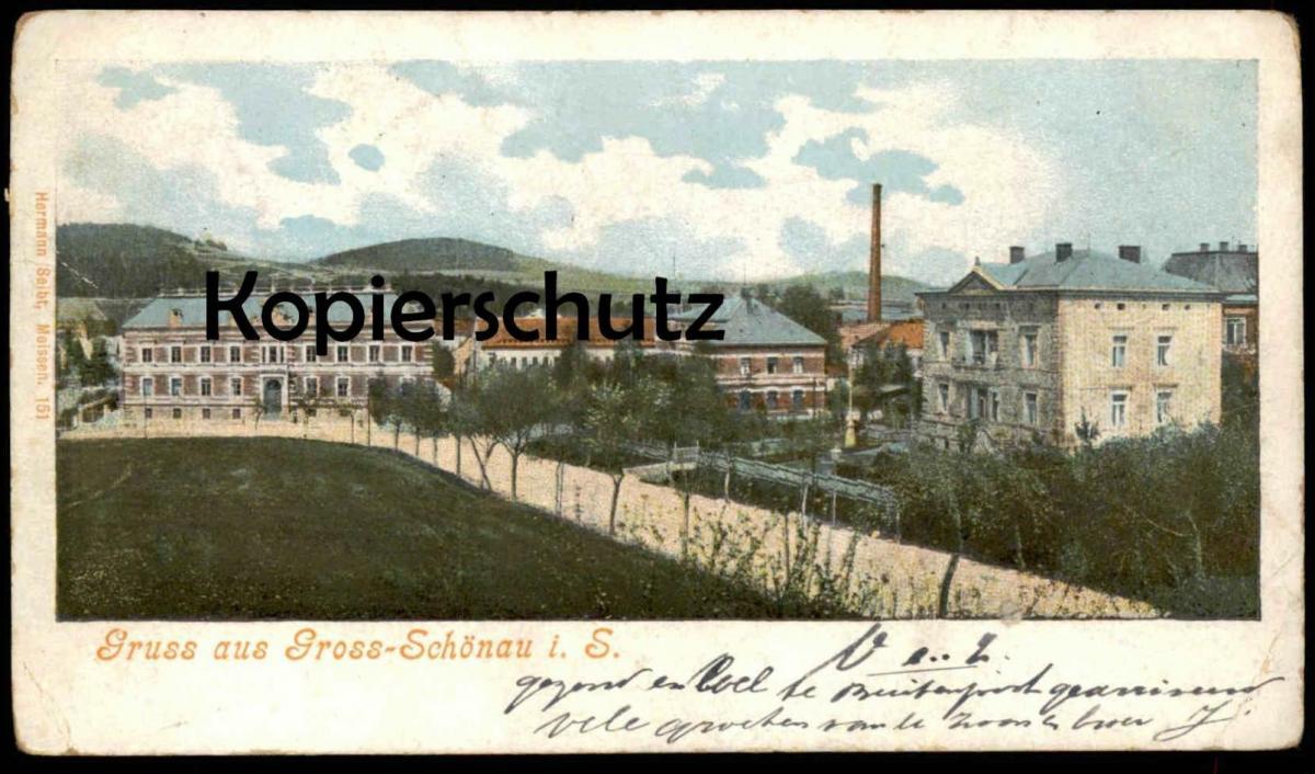 ALTE POSTKARTE GRUSS AUS GROSS-SCHÖNAU Großschönau-Hainewalde Landkreis Görlitz Großschoenau cpa postcard Ansichtskarte
