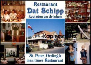 POSTKARTE St. Peter Sankt Peter-Ording Restaurant Dat Schipp erkennbar Anker ancre anchor AK Ansichtskarte cpa postcard