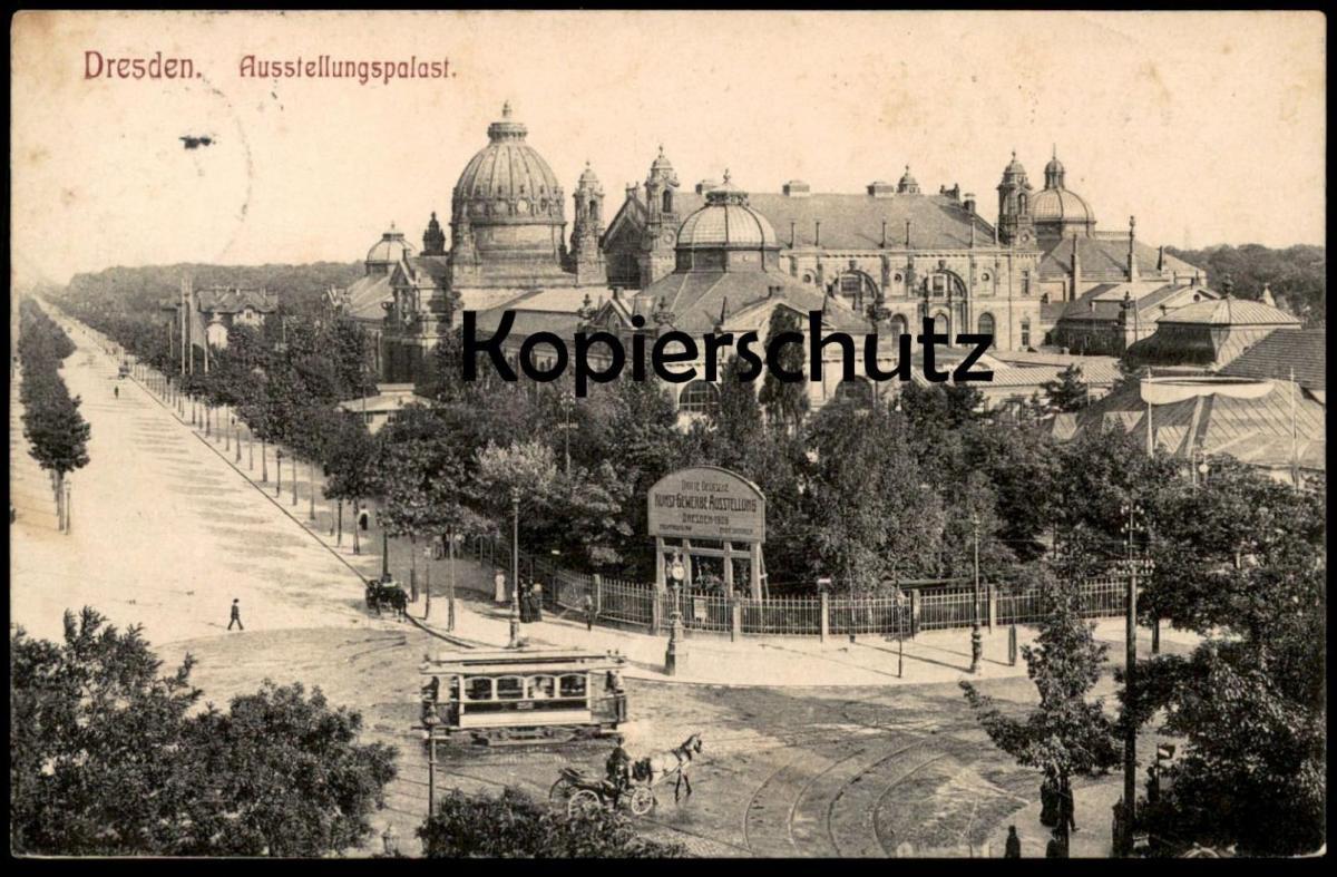 ALTE POSTKARTE DRESDEN Straßenbahn tramway tram Ausstellungspalast Kunst-Gewerbe-Ausstellung 1906 cpa postcard
