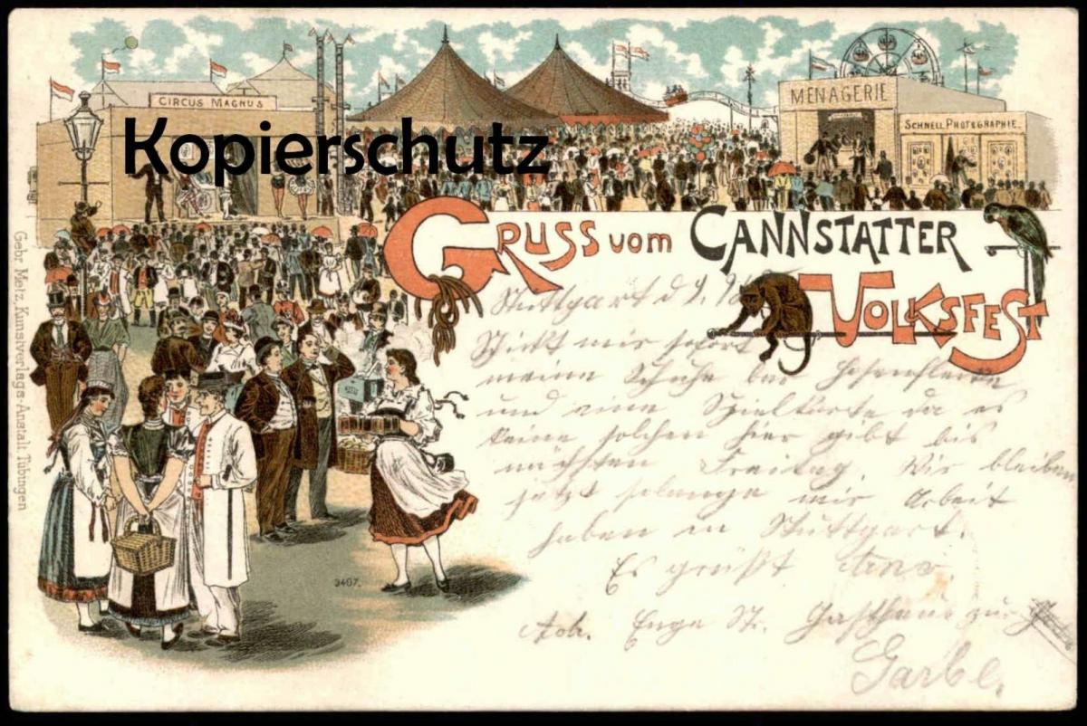 LITHO POSTKARTE VOLKSFEST BAD CANSTATT 1898 Stuttgart Circus Zirkus cirque Kirmes kermesse ducasse fun fair Papagei ape