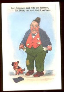 ÄLTERE POSTKARTE MANN PLEITE KEIN GELD NO MONEY HUND HUMOR DALLES dog cane hound chien humour Ansichtskarte cpa postcard