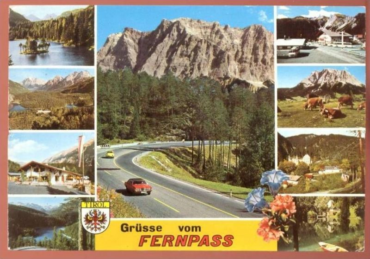 ÄLTERE POSTKARTE FERNPASS Tirol Österreich VW Käfer Kever Pass Passo blason AK Ansichtskarte postcard cpa