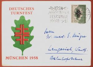 ALTE POSTKARTE MÜNCHEN EREIGNIS DEUTSCHES TURNFEST 1958 gymnastics gymnastiques AK Ansichtskarte postcard cpa