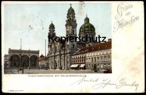ALTE LITHO POSTKARTE GRUSS AUS MÜNCHEN 1899 THEATINERKIRCHE MIT FELDHERRNHALLE AK Ansichtskarte postcard cpa