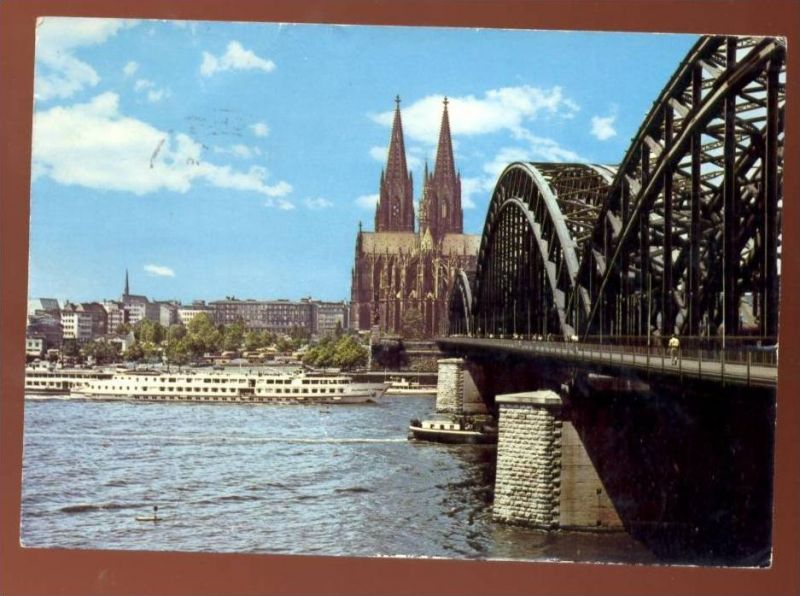 POSTKARTE KÖLN mit Rhein Schiff Brücke Hohenzollernbrücke Köln-Düsseldorfer ? Ansichtskarte AK postcard cpa