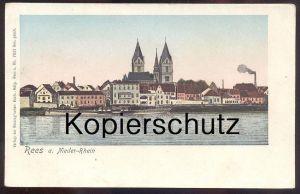 ALTE LITHO POSTKARTE REES AM RHEIN NIEDER-RHEIN PANORAMA Reesing´sche Buch-Handlung Ansichtskarte AK postcard cpa
