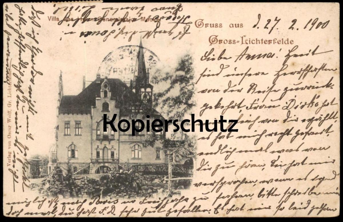 ALTE POSTKARTE GRUSS AUS GROSS-LICHTERFELDE VILLA DES GENERALMAJOR MECKEL Berlin Steglitz Berlino cpa AK Ansichtskarte
