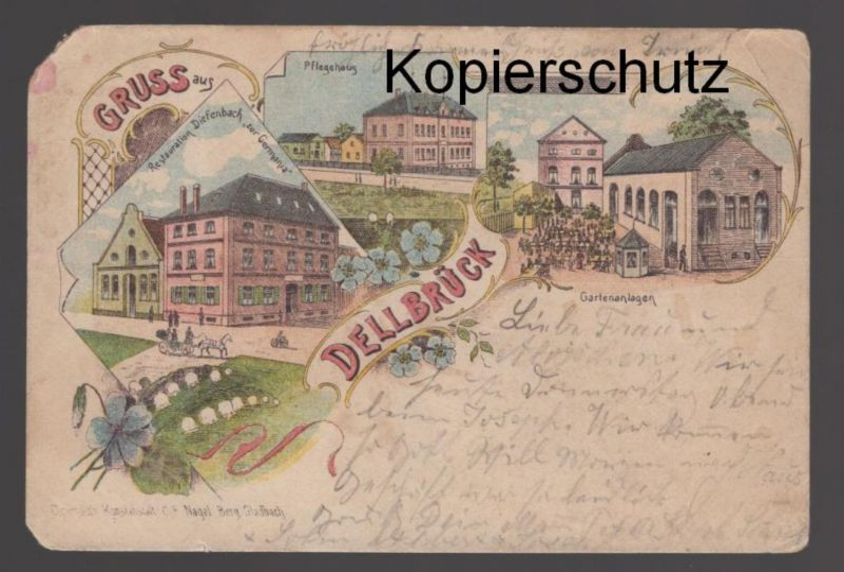 ALTE LITHO POSTKARTE GRUSS AUS DELLBRÜCK Köln Cöln Ansichtskarte AK cpa postcard