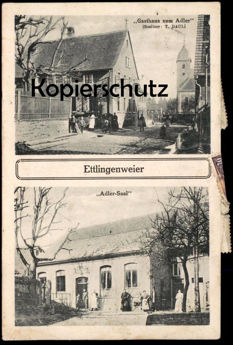 ALTE POSTKARTE ETTLINGENWEIER GASTHAUS ZUM ADLER DAUL ADLER-SAAL ETTLINGEN Ansichtskarte AK cpa postcard