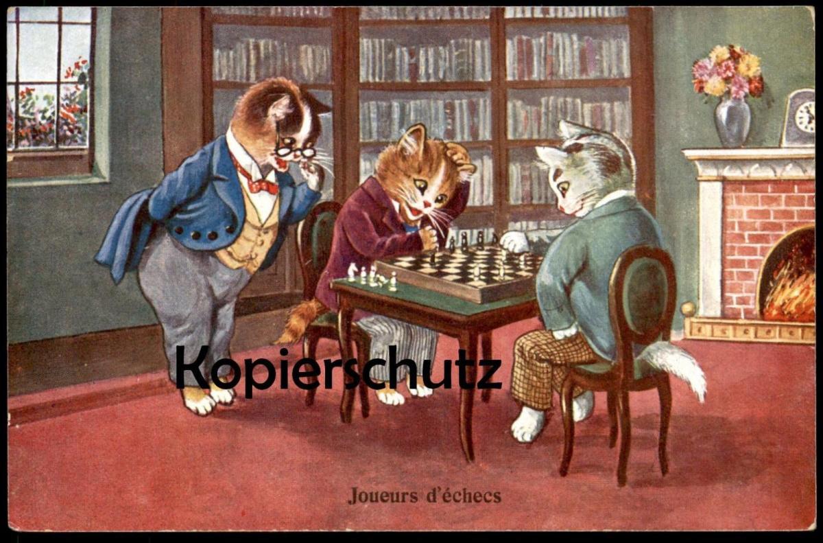 ALTE POSTKARTE JOUEURS D'ÉCHECS KATZEN SPIELEN SCHACH CATS PLAYING CHESS Katze cat chat chats cpa postcard