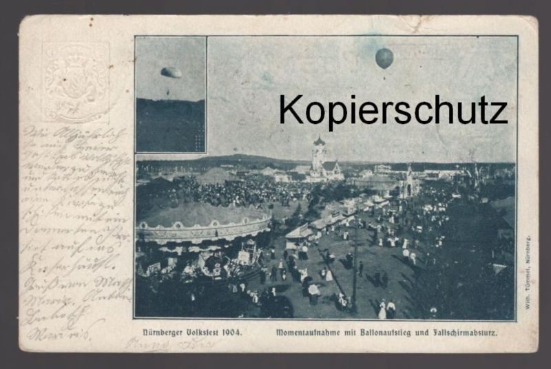 ALTE POSTKARTE NÜRNBERGER VOLKSFEST 1904 MOMENTAUFNAHME MIT BALLONAUFSTIEG UND FALLSCHIRMABSTURZ Nürnberg Ganzsache