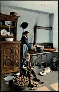 ALTE POSTKARTE WESTFÄLISCHE KÜCHE Kitchen Tracht Kartoffeln Katze Bauer Westfalen cpa Ansichtskarte AK postcard