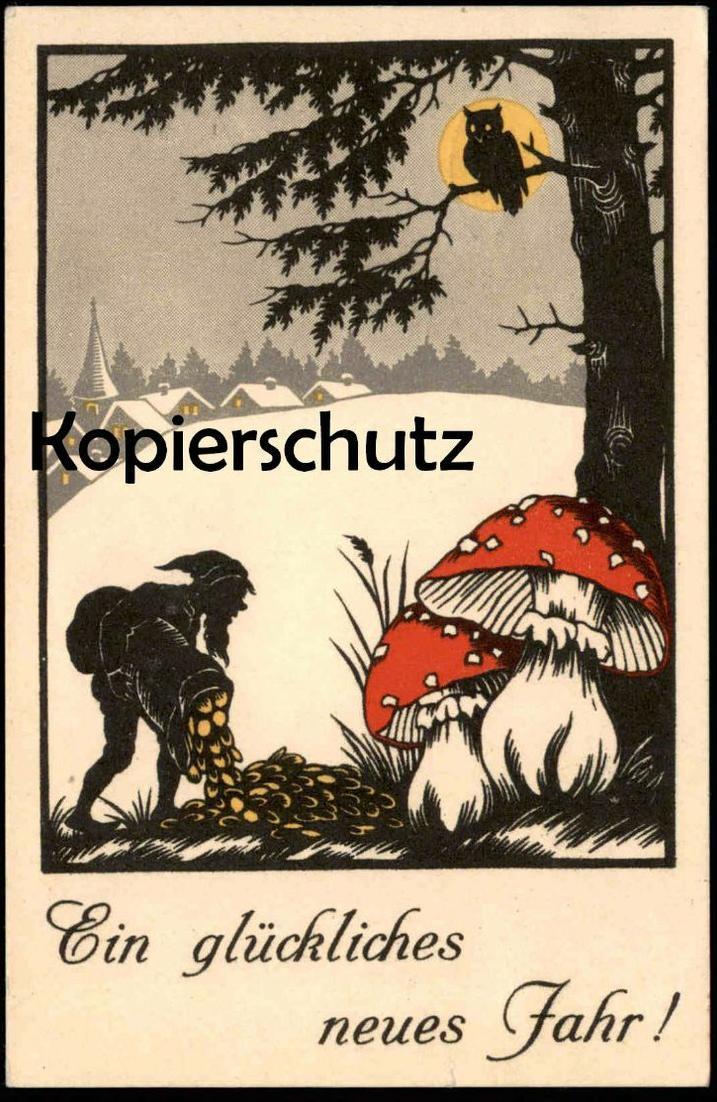 ALTE POSTKARTE EIN GLÜCKLICHES NEUES JAHR ZWERG dwarf Eule nain owl ...