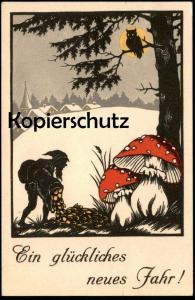 ALTE POSTKARTE EIN GLÜCKLICHES NEUES JAHR ZWERG dwarf Eule nain owl Uhu midget Geld money Münzen Ansichtskarte postcard