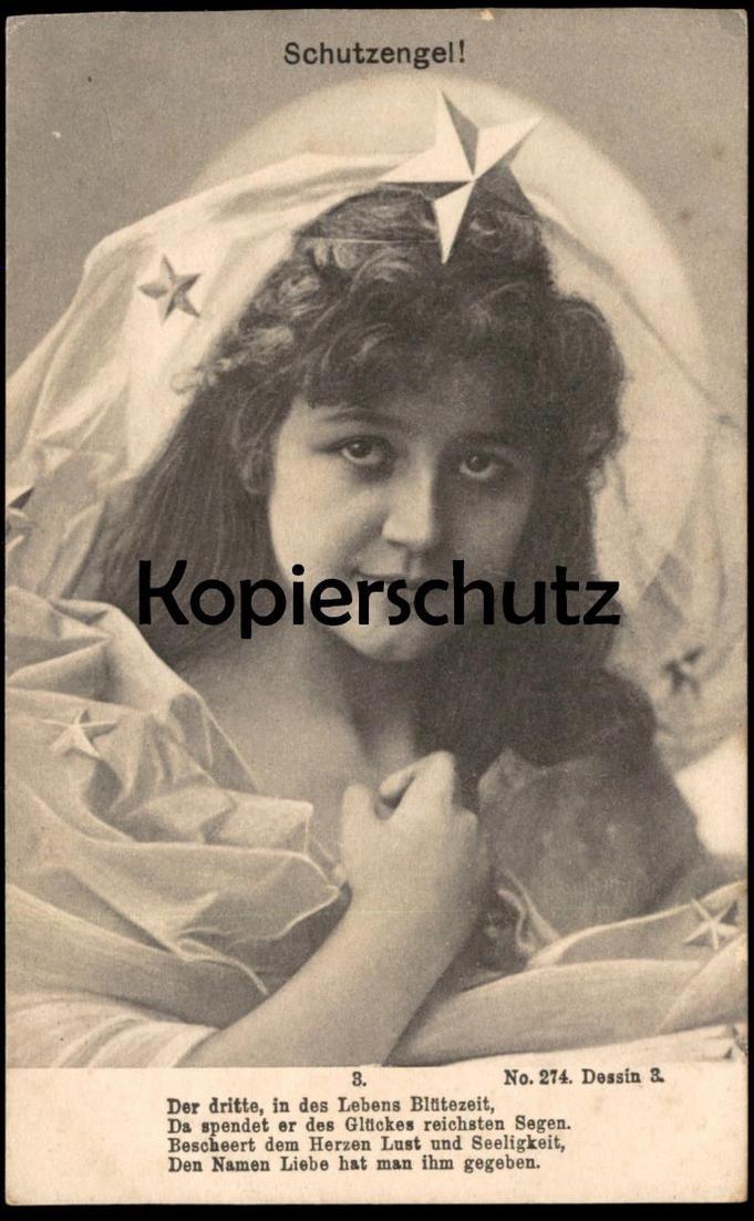 ALTE POSTKARTE SCHUTZENGEL Engel angel ange Mädchen enfant girl Ansichtskarte AK postcard cpa