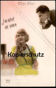 ALTE POSTKARTE ALLO ALLO J'AI RÊVÉ DE VOUS PAAR couple Romantik romance Telefon telephone Ansichtskarte AK postcard cpa