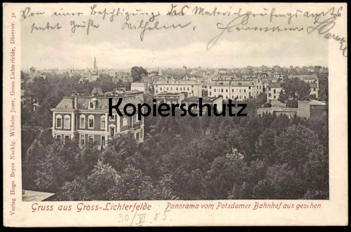ALTE POSTKARTE GRUSS AUS GROSS-LICHTERFELDE PANORAMA VOM POTSDAMER BAHNHOF AUS GESEHEN Berlin Steglitz cpa postcard AK