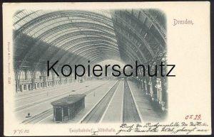 ALTE POSTKARTE DRESDEN HAUPTBAHNHOF MITTELHALLE Bahnhof Gare Station Hanschriftlich Beschreibung des Bahnhofs postcard