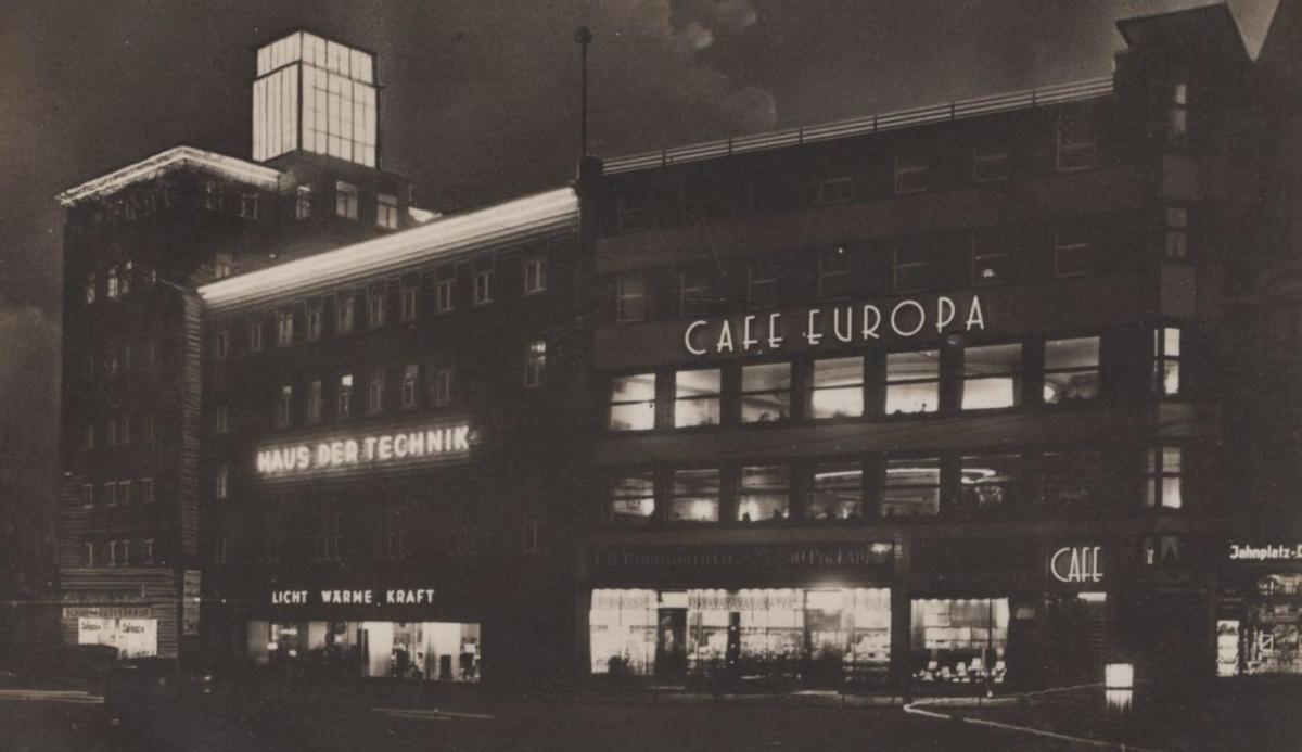 ALTE POSTKARTE BIELEFELD HAUS DER TECHNIK UND CAFÉ EUROPA