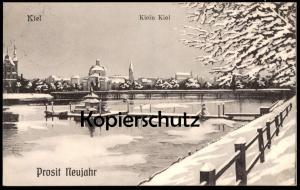 ALTE POSTKARTE KIEL KLEIN KIEL PROSIT NEUJAHR Winter Schnee snow postcard Ansichtskarte cpa AK