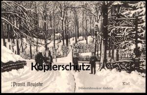 ALTE POSTKARTE KIEL PROSIT NEUJAHR DÜSTERNBROOKER GEHÖLZ Düsternbrook Winter Schnee snow Uniform Pferde postcard cpa AK
