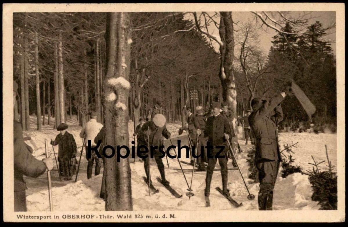 ALTE POSTKARTE WINTERSPORT IN OBERHOF THÜR. WALD 825 M. Ü. D. M. skiing faire du ski postcard Ansichtskarte cpa AK