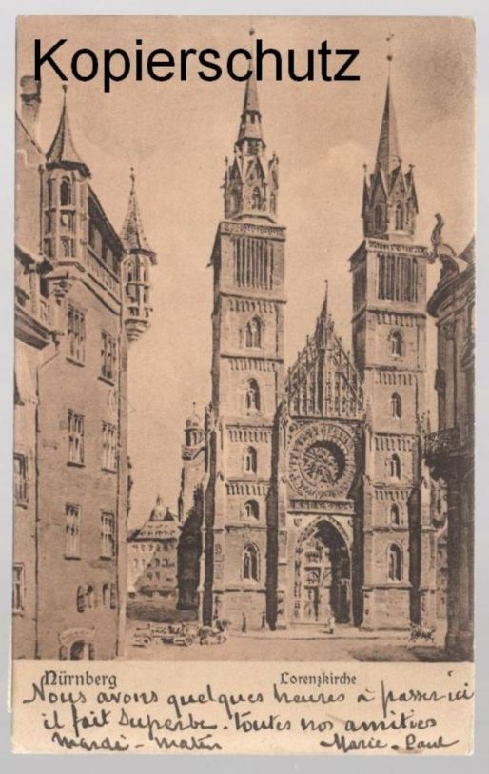 ALTE POSTKARTE NÜRNBERG LORENZKIRCHE Kirche church église postcard Ansichtskarte cpa AK