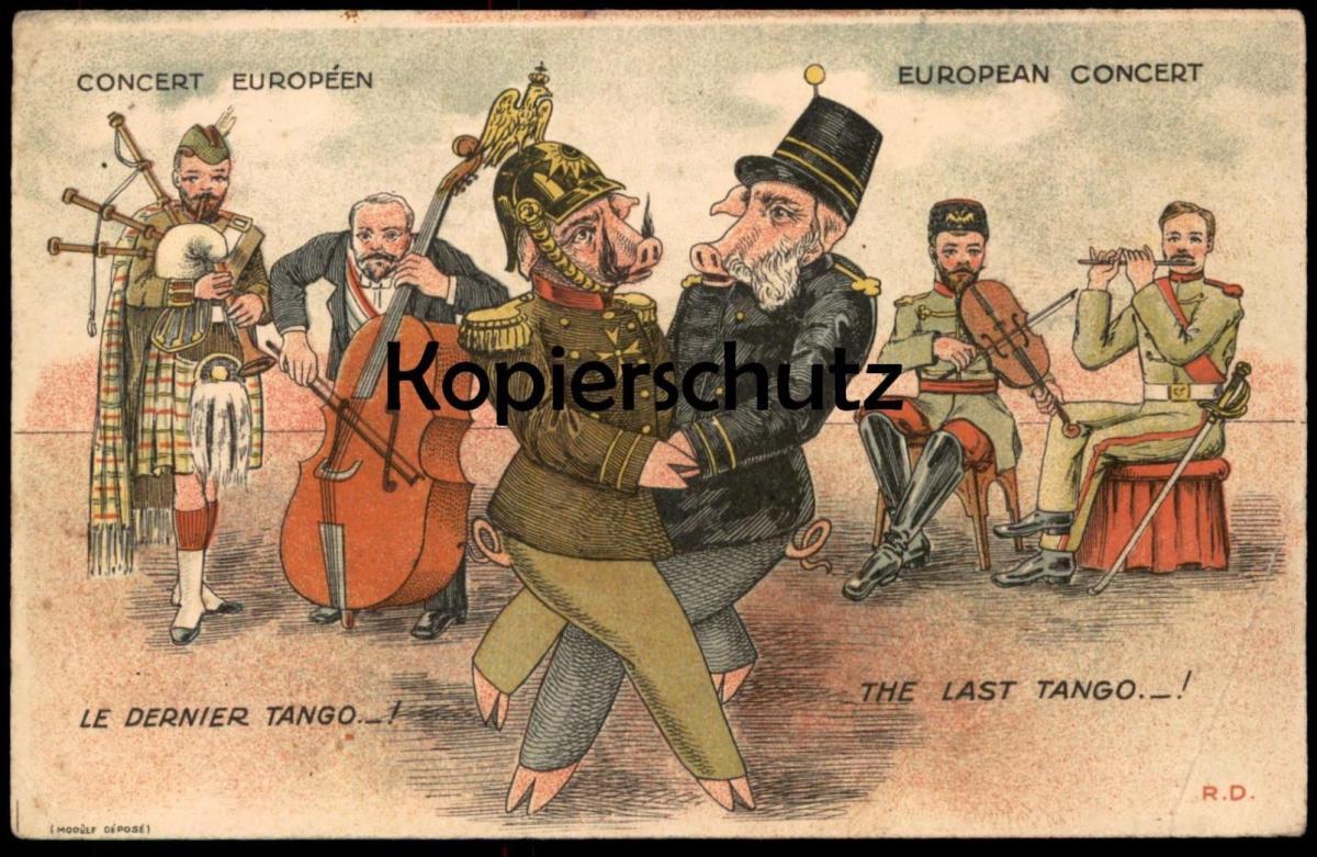 ALTE POSTKARTE VERMENSCHLICHTE SCHWEINE HUMANISED PIGS COCHON HUMANISE Politik Satire Europa postcard Ansichtskarte AK