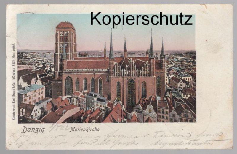 ALTE POSTKARTE DANZIG MARIENKIRCHE Gdansk Poland Polska church église Kirche 1902 postcard Ansichtskarte cpa AK