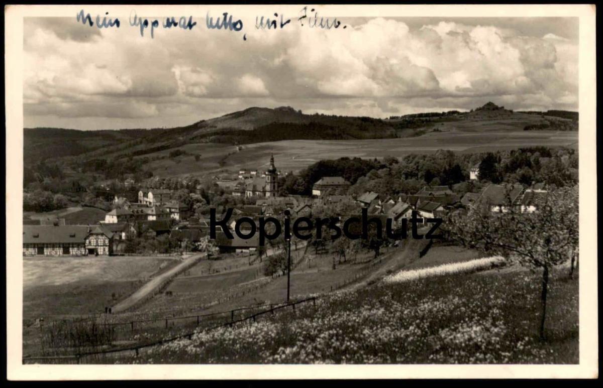 ALTE POSTKARTE LUFTKURORT GERSFELD MIT BAD UND WACHTKÜPPEL RHÖN Totalansicht Ansichtskarte cpa postcard AK