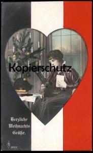 ALTE POSTKARTE HERZLICHE WEIHNACHTSGRÜSSE PORTRÄT SOLDAT WEIHNACHTSBAUM WEIHNACHTEN HERZ  Ansichtskarte postcard