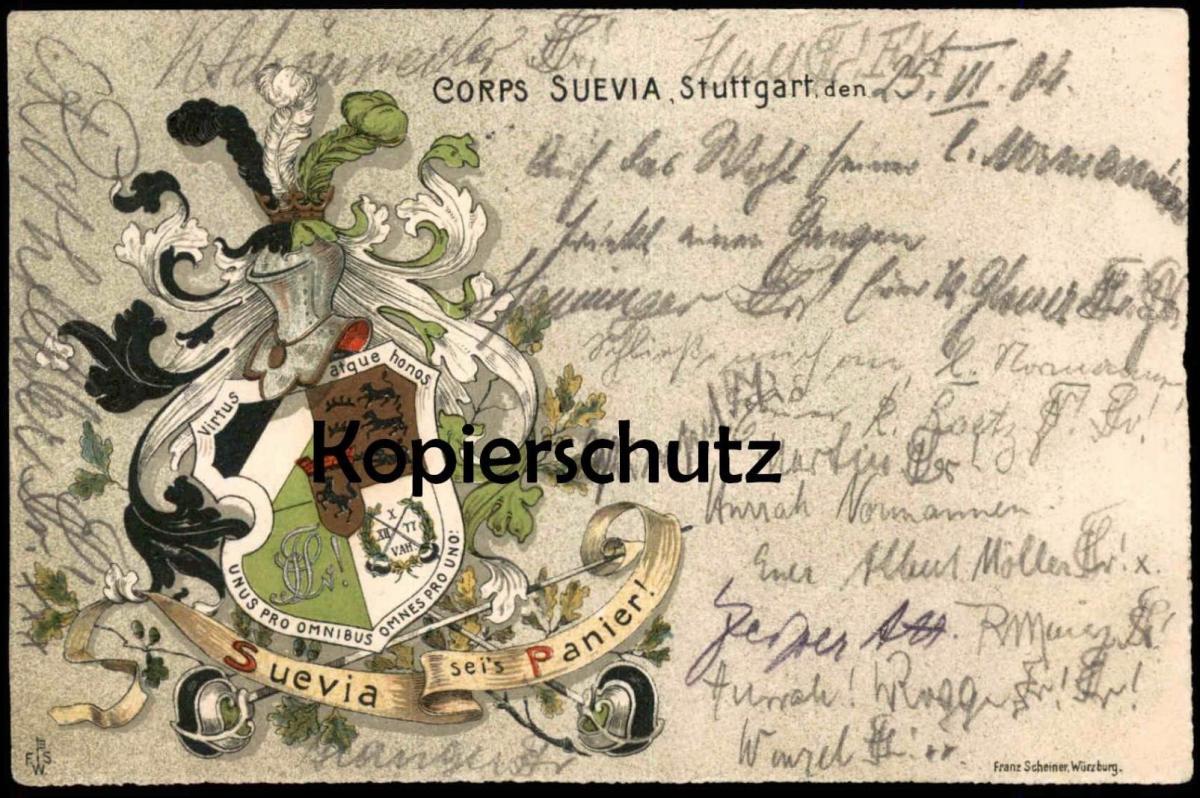 ALTE POSTKARTE CORPS SUEVIA STUTTGART STUDENTIKA STUDENTICA CORPS SUEVIA AN CORPS NORMANNIA HANNOVER Ansichtskarte