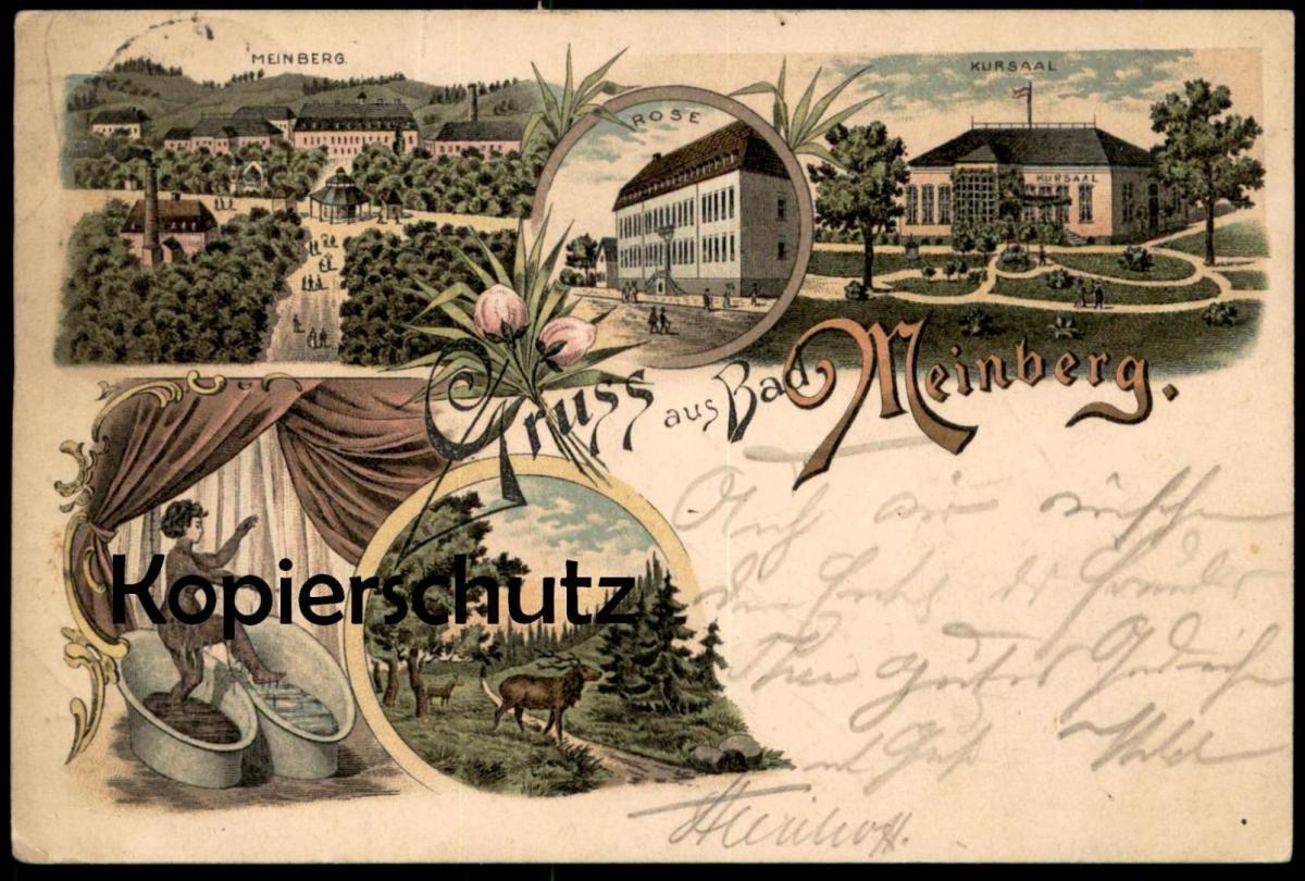ALTE LITHO POSTKARTE GRUSS AUS BAD MEINBERG FRAU BEIM BADEN woman bath Ansichtskarte postcard cpa AK