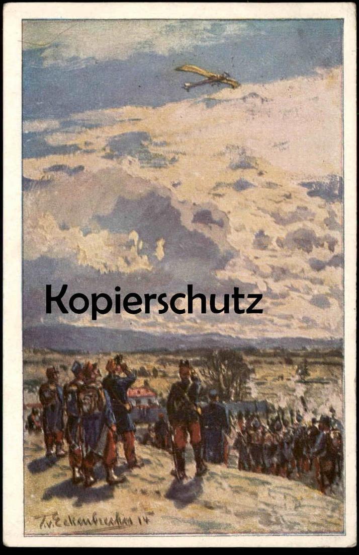 ALTE KÜNSTLER-POSTKARTE BESCHIESSUNG EINER TAUBE FLUGZEUG Airplane Luftfahrt T. v. Eckenbrecher Ansichtskarte postcard