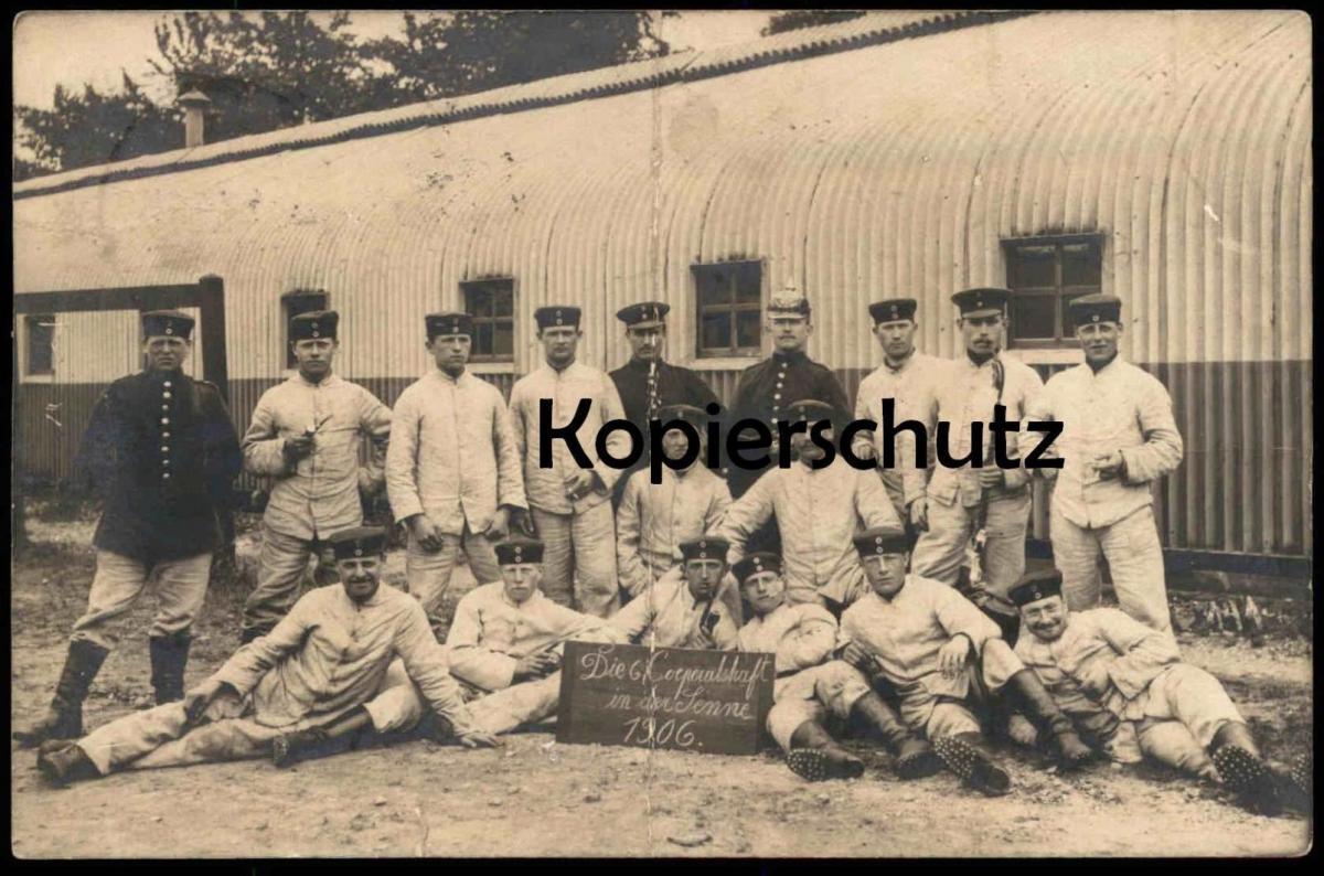 ALTE POSTKARTE DIE 6. CORPORALSCHAFT IN DER SENNE 1906 SENNELAGER Soldaten Uniform soldier Soldat cpa photo Foto AK