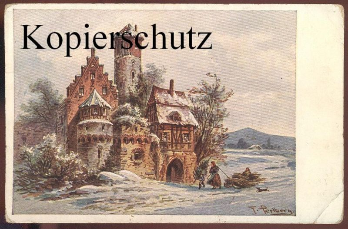 ALTE POSTKARTE FRIEDRICH PERLBERG SERIEN No. 5 No. 3453 HAUS BURG FRAU WINTER SCHLITTEN luge sleigh Hund Ansichtskarte