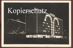 ALTE POSTKARTE ZLIN V NOCI HOTEL SPOLECENSKY DUM OBCHODNI DUM at night bei Nacht nuit Ansichtskarte postcard cpa AK