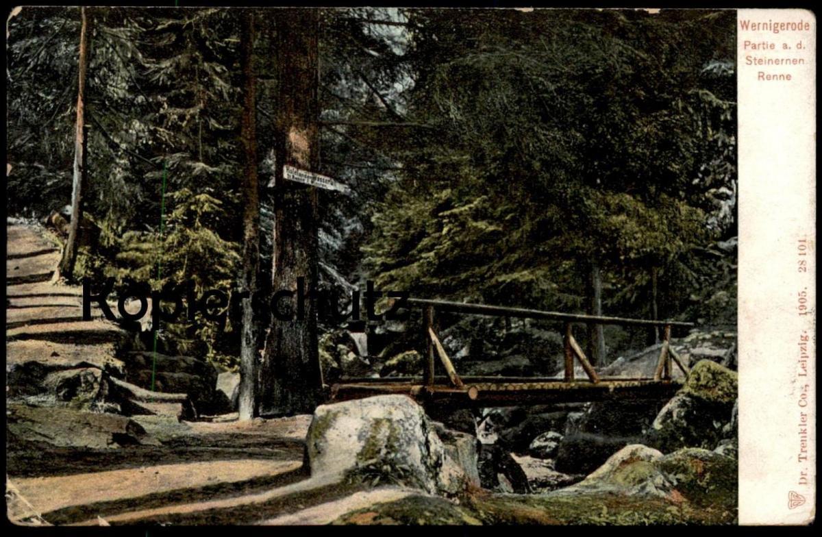 ALTE POSTKARTE WERNIGERODE PARTIE AN DER STEINERNEN RENNE Steinerne Hinweisschild Hotel Harz AK Ansichtskarte postcard