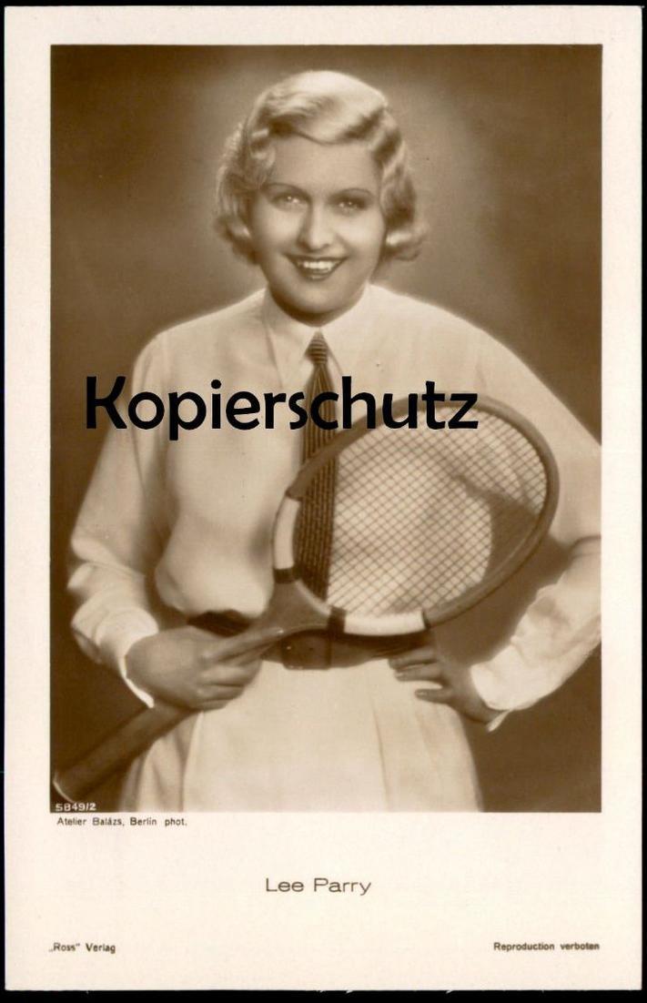 ALTE POSTKARTE LEE PARRY FILM-SCHAUSPIELERIN TENNIS RACKET Tennisschläger Actress actor Verlag Ross Atelier Balazs cpa